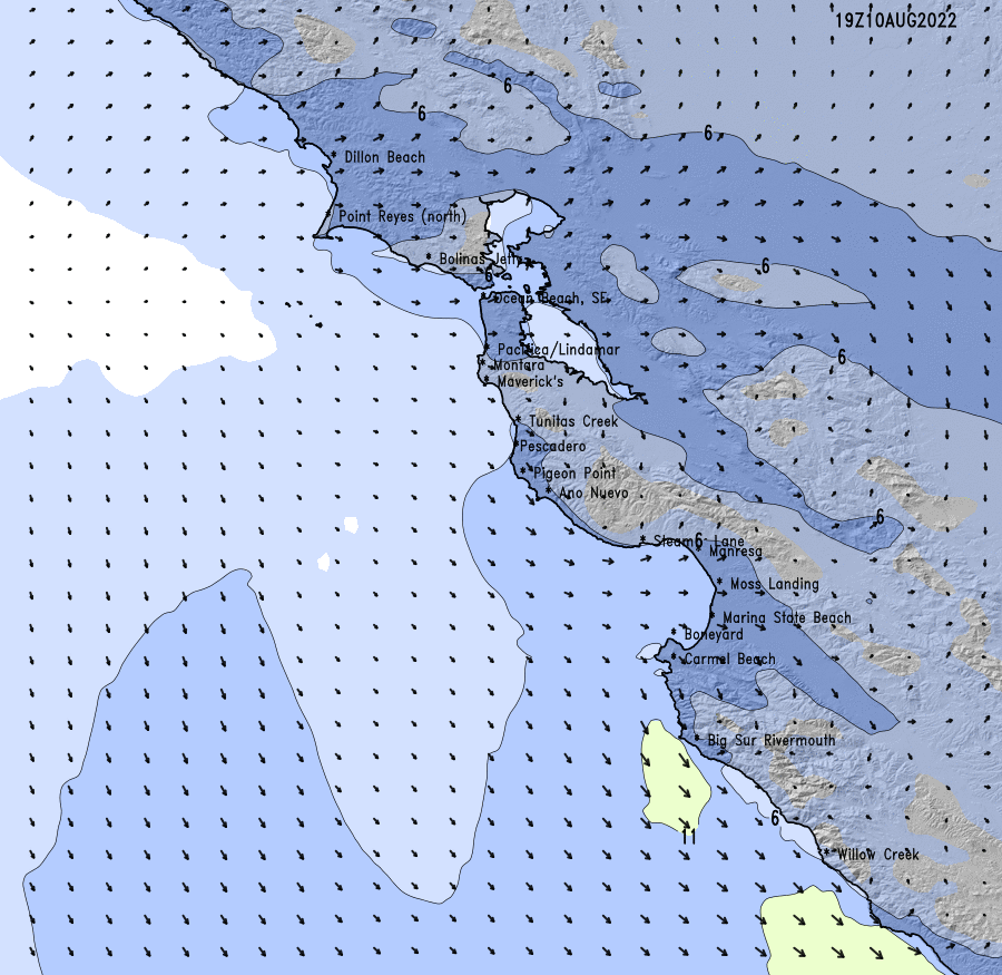 SFSan Mateo County High Resolution Wind Chart SURFLINECOM